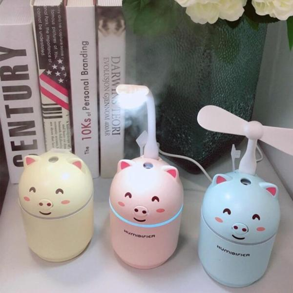Máy phun sương tạo ẩm mini HUMIDIFIER 3IN1 - Hình con lợn