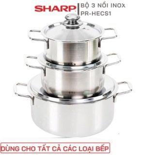 Bộ 3 nồi inox sáng bóng SHARP nắp inox 24cm 20cm 16cm dùng dược bếp từ và mọi loại bếp , bộ nồi inox chắc chắn cao cấp thumbnail