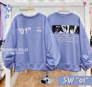 Áo khoác nỉ form rộng phong cách Hàn không mũ phối được áo sơ mi in số 01 trước ngực dễ thương TTSLA0515 thumbnail