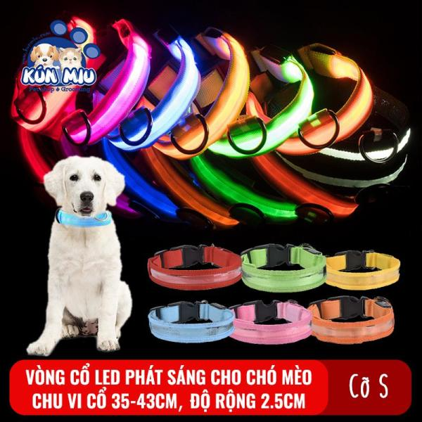 Vòng cổ LED phát sáng, chống đi lạc cho chó Kún Miu - Nhiều màu sắc
