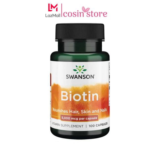 Viên Uống Swanson Biotin 5,000 Mcg của Mỹ 100 Viên - 5000mcg hỗ trợ mọc tóc, giúp tóc chắc khỏe