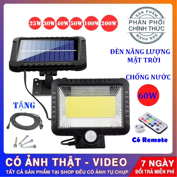 Bảng giá (Bảo Hành 12 tháng) Đèn năng lượng mặt trời 60W , Chống nước dùng trong cả mùa mưa , đèn năng lượng mặt trời có điều khiển( remote)