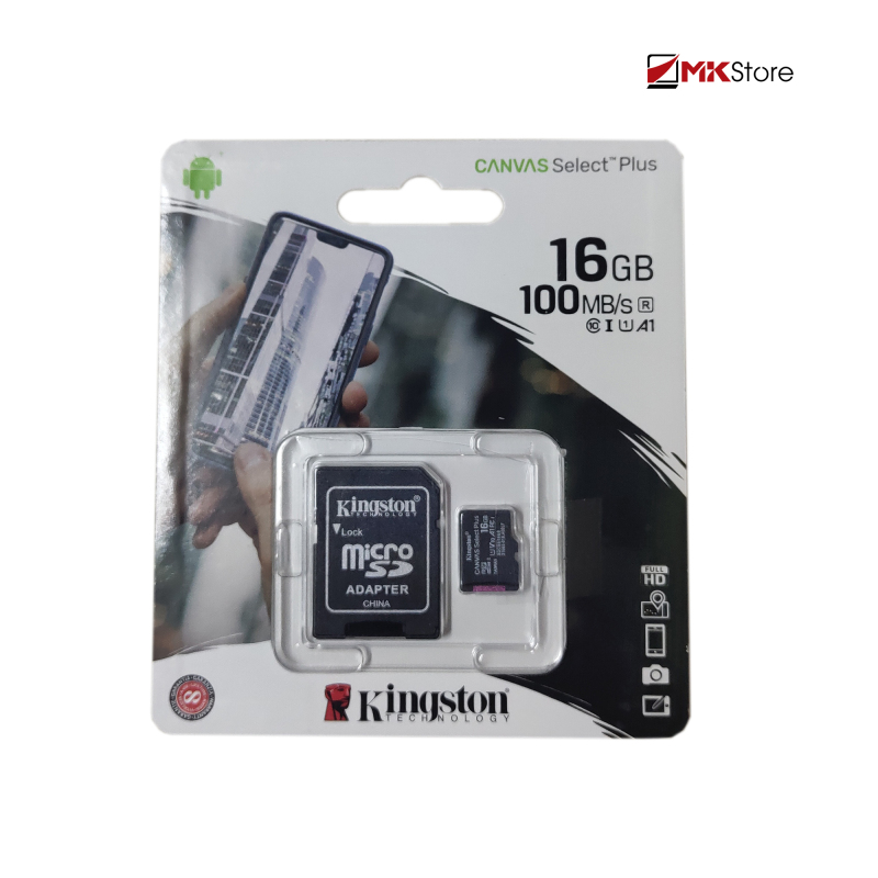 Thẻ nhớ Kingston 16Gb Micro SDHC Canvas select100r CL10 Single Pack + Adapter SDCS2/16GB