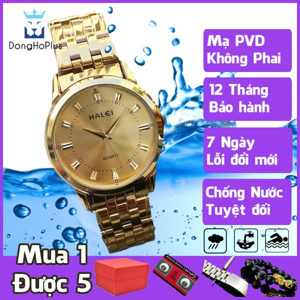 Đồng hồ nam giá rẻ Halei 502 hàng chính hãng cao cấp, dây thép kim loại không gỉ, chống nước hoàn toàn, tắm, đi mưa, bơi lội thoải mái TẶNG HỘP + 2 PIN AG04 + VÒNG PHONG THỦY
