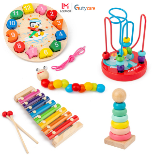 Đồ Chơi Gỗ Thông Minh Montessori, đồ chơi gỗ đàn gõ 8 thanh, Sâu gỗ, tháp xếp chồng gỗ cầu vồng, luồn hạt, đồng hồ sâu dây phát triển kĩ năng cơ bản cho trẻ từ 1 tuổi trở lên ( Khách vui lòng chọn phân loại hàng) - Guty Care thumbnail