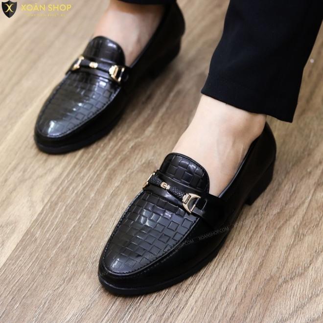 ( Kèm Video) Giày lười nam in vân da bóng quai vàng kiểu mới rẻ đẹp giá rẻ