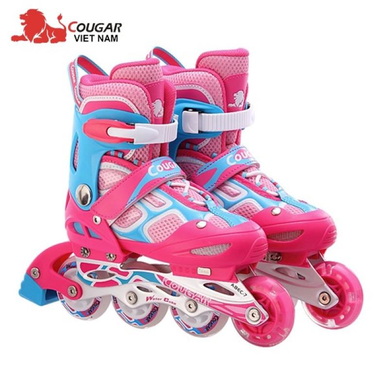 Phân phối Giày trượt patin Cougar 835LSG có đèn màu Hồng xanh   bao giá thị trường