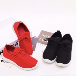 Giày sneaker nữ thể thao phối sóng màu (Trắng phối đen & Trắng phối đỏ) thumbnail