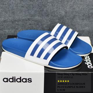 Dép Adidas Cloudfoam Plus màu xanh đế trắng quai trắng sọc xanh dương thumbnail