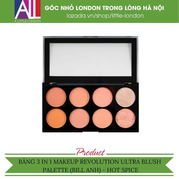 Bảng 3 in 1 phấn má/ highlight/ tạo khối Makeup Revolution Ultra Blush Palette - Hot Spice (Bill Anh)