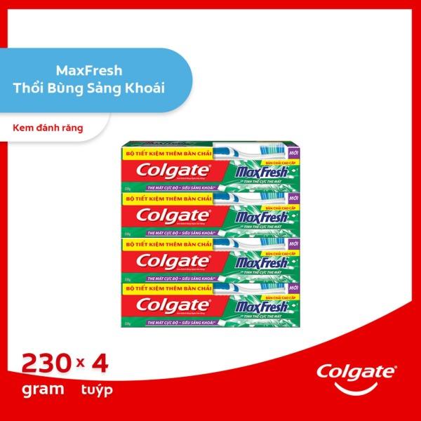 Bộ 4 Kem đánh răng Colgate the mát thổi bùng sảng khoái Maxfresh 230g tặng bàn chải đánh răng lông tơ giá rẻ