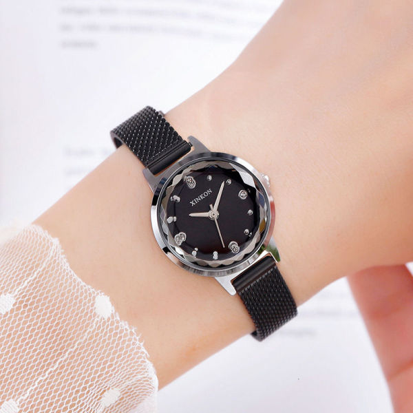 New fashion pattern mesh belt net red Milan mesh belt diamond inlaid womens waterproof watch, female quartz watch 1XN1 Malaysia