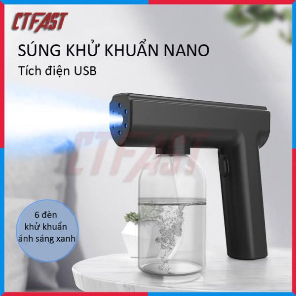 Máy phun khử trùng nano cầm tay CTFAST - 05 : Máy phun khử trùng gia đình tích điện không dây kết hợp ánh sáng xanh an toàn, khử trùng, diệt khuẩn, đuổi muỗi