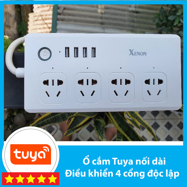 Ổ cắm nối dài Tuya Wifi /Zigbee - điều khiển 4 cổng độc lập + USB - Hỗ trợ Google Assistant/Alexa