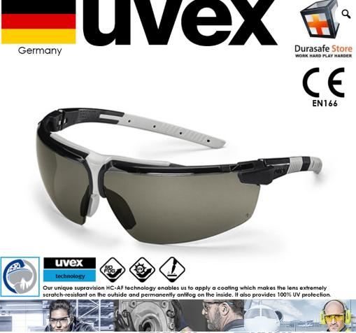 Kính UVEX 9190281 I-3 Safety Gọng Đen Tròng Xám Đậm Supravision HC-AF (Black frame Dark Grey Len)