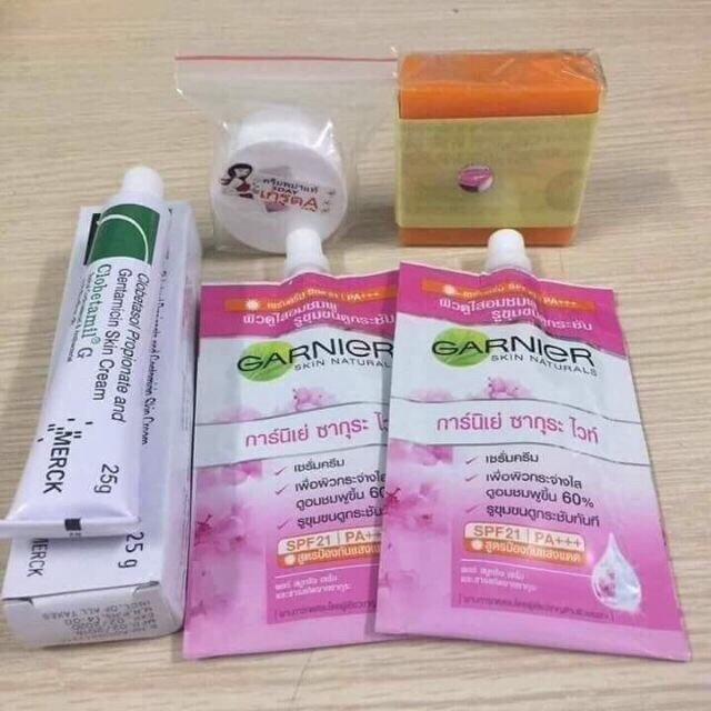 Bộ 5 món dưỡng trắng trị nám tàn nhan garier Thái Lan nhập khẩu