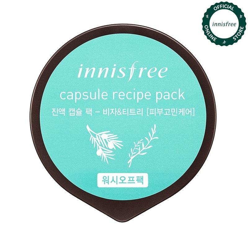 Mặt nạ rửa làm dịu da dành cho da mụn từ Bija & cây trà Innisfree Capsule Recipe Pack - Bija & Tea Tree 10ml nhập khẩu