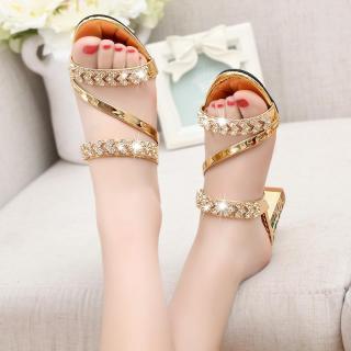 LCFU764 Womens Diamond Casual Slip On Sandal Heels-golden - intl thumbnail