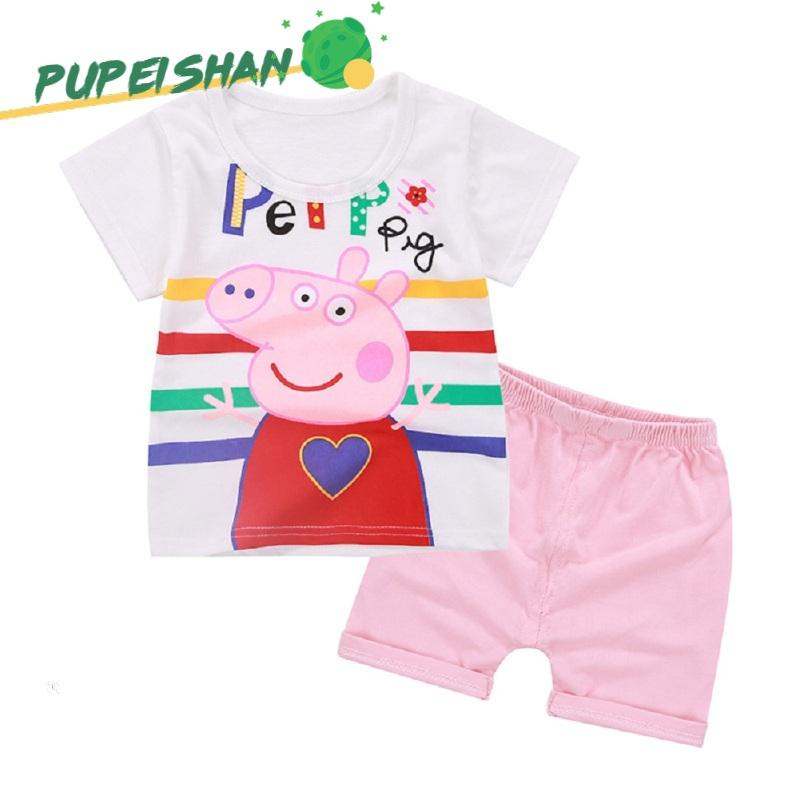 short pants summer clothes colorful heart 2pcs cotton Baby Girls summer T-Shirt
