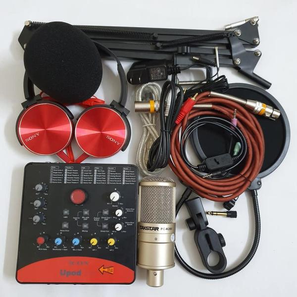 Bộ Combo mic livestream hát karaoke online micro takstar PC-k200 card icon upod.pro dây MA2 màng lọc chân kẹp tặng tai nghe 450