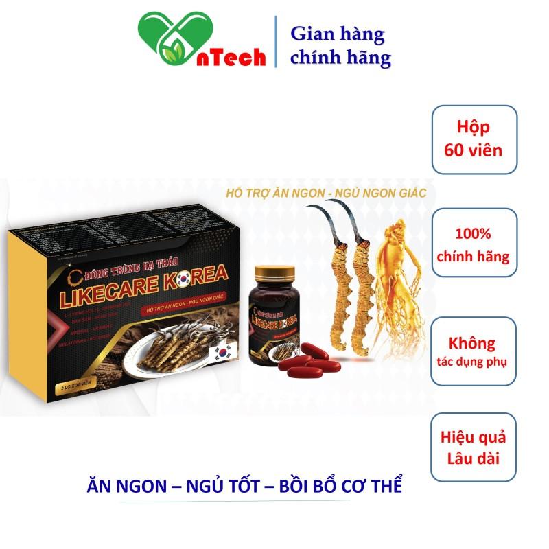 Đông trùng hạ thảo ăn ngon ngủ tốt bồi bổ cơ thể LIKECARE KOREA hỗ trợ trị biếng ăn mất ngủ hộp 60 viên giá rẻ