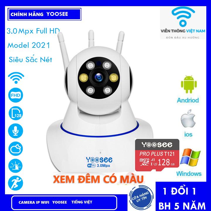 (COMBO CAMERA + THẺ 128GB BH 5 NĂM ) Camera IP YooSee WIFI Xoay 360 Độ, Ban Đêm Có Màu Quan Sát Rõ Ngày Và Đêm FULL HD 1080p 3.0mpx Báo Động Chống Trộm Kèm Thẻ Nhớ - Chính Hãng
