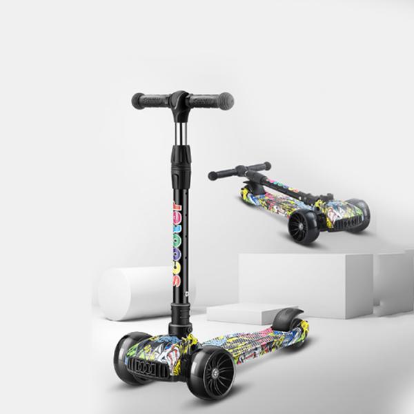 Mua xe trượt scooter trẻ em bánh xe phát sáng, tay cầm điều chỉnh cao thấp, màu sắc rực rỡ bắt mắt - xe scooter chòi chân cho bé 2-8 tuổi