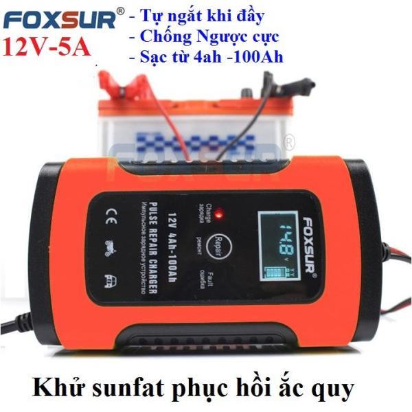 Bảng giá Sạc bình ắc quy 12V 5A (4Ah-100ah)FOXSUR có khử sunfat thông minh tự ngăt khi đầy chống ngược cực, may sac binh ac quy, sac acquy, sac ac quy xe may, sac binh