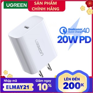 Cốc sạc Nhanh UGREEN 20W Power Delivery Fast Charger for iPhone 12 Pro max SAMSUNG Xiaomi Huawei VIVO OPPO thumbnail