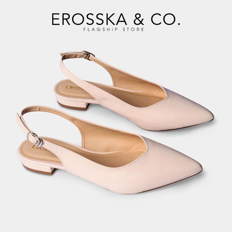 Giày nữ, giày cao gót slingback Erosska mũi nhọn cao 2cm thời trang kiểu dáng basic - EL001 (WH) giá rẻ