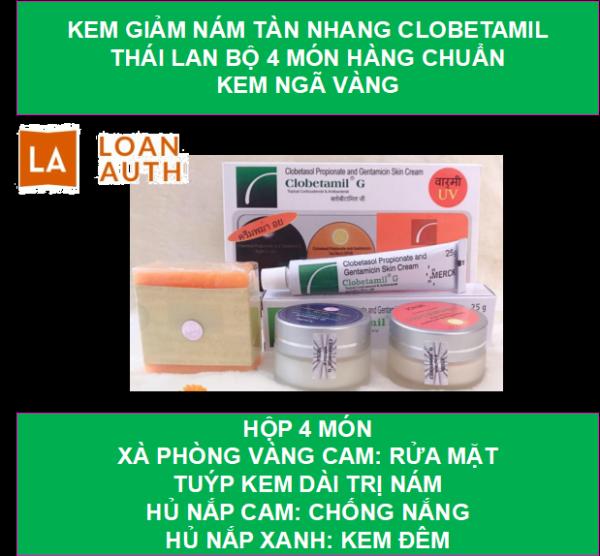 Kem giảm nám tàn nhang Clobetamil Thái Lan bộ 4 món hàng chuẩn kem ngã vàng-shop loan auth giá rẻ