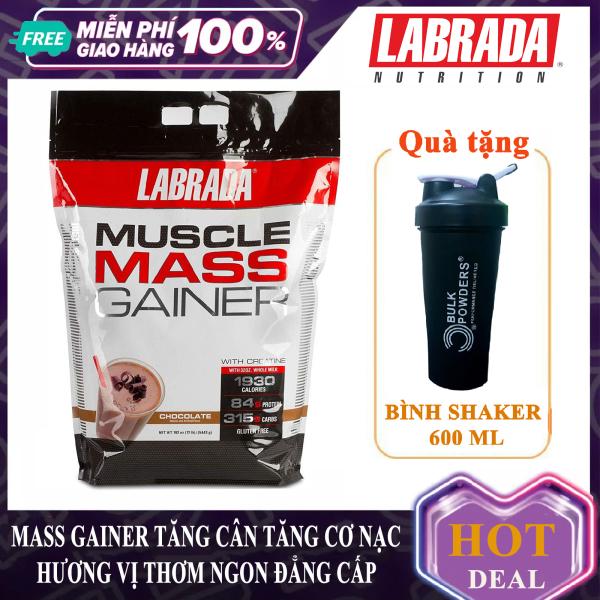 [Lấy mã giảm thêm 30%] [FREE SHAKER] Sữa tăng cân tăng cơ nạc Muscle Mass Gainer của Labrada bịch lớn 5.45 kg có enzym tiêu hóa tăng hấp thu xây dựng và phát triển cơ bắp nhanh cho người gầy kén ăn khó tăng cân khó hấp thu