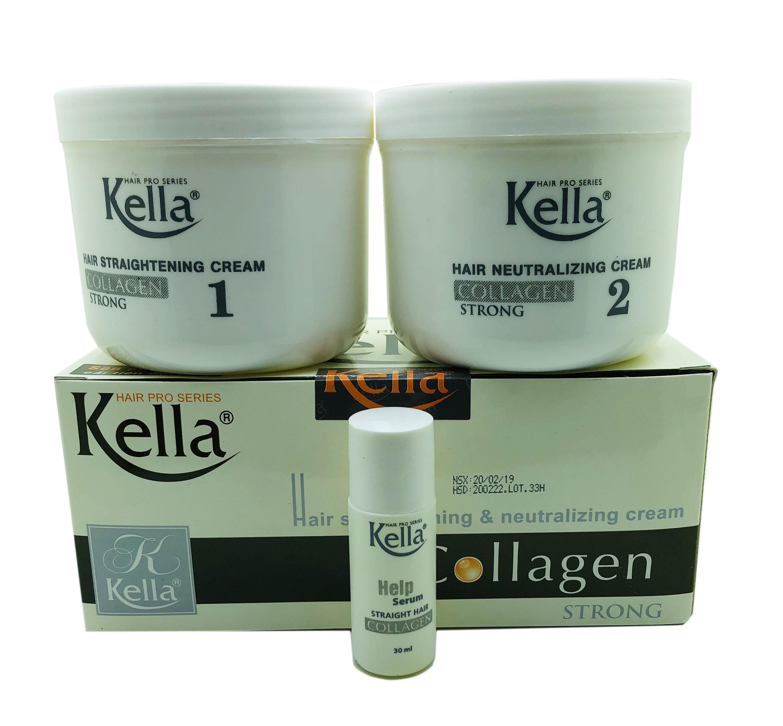 Kem Duỗi Tóc Kella Thuốc Duỗi Tóc Kella Collagen 500ml x 2 nhập khẩu