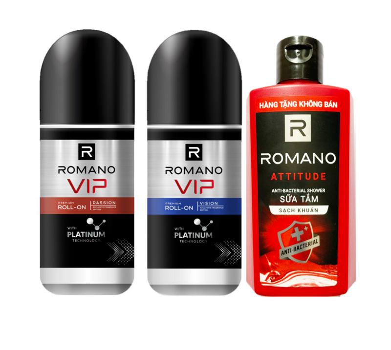 Combo 2 Lăn Khử Mùi cho Nam Romano VIP Platinum 50ml/chai+Tặng Sữa tắm 60g giá rẻ