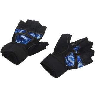 Camouflage Blue Casual Fitness Gloves Non-Slip Protection Finger Gloves Middle thumbnail