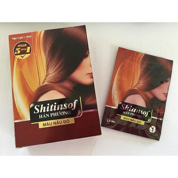 Dầu gội nhuộm tóc màu hạt dẻ Shitinsof 15ml (3 gói/hộp)