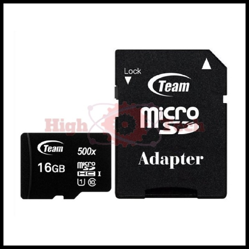 Thẻ nhớ micro SDHC Team 16GB upto 80MB-s 500x class 10 U1 kèm Adapter (Đen)