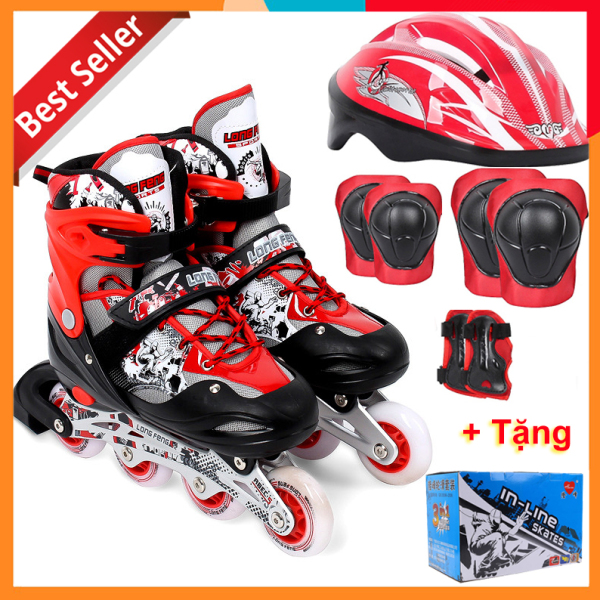 Giá bán Bộ Giày Patin Longfeng 3 in 1 , giày trượt patin đầy đủ bảo hộ chân tay và mũ chính hãng tặng kèm hộp vàn bộ ốc vít màu Đỏ