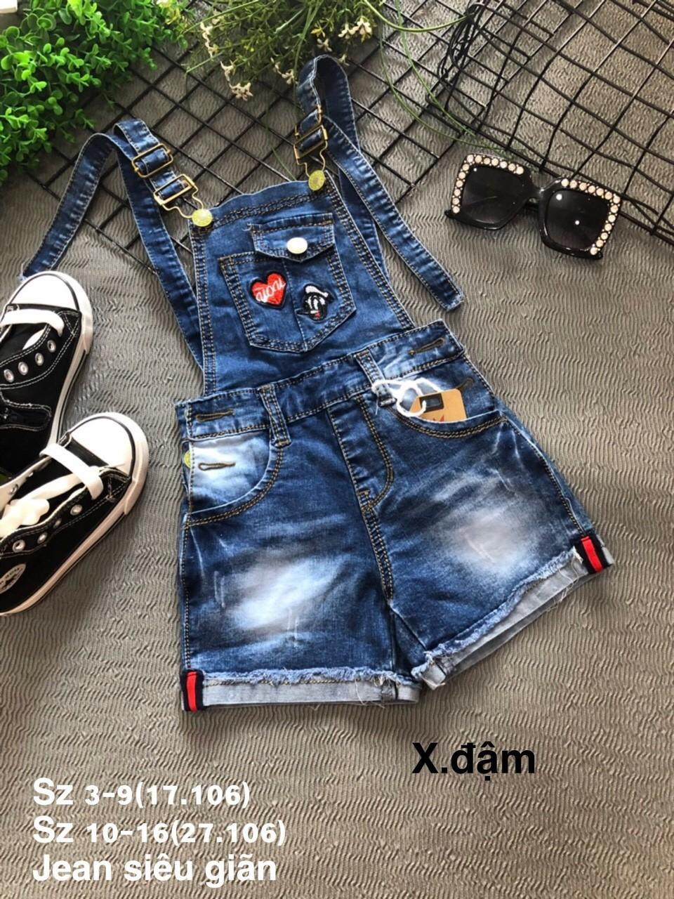 Giá bán Yếm jean bé gái thêu đắp xinh xắn, follow shop quần áo đẹp cho bé, Yếm jeans đẹp cho bé