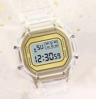 Đồng hồ điện tử nam nữ vuông nhỏ xu hướng học sinh tiểu học trung học cơ sở nam nữ thể thao không thấm nước cặp đôi đơn giản dây silicon trong thumbnail