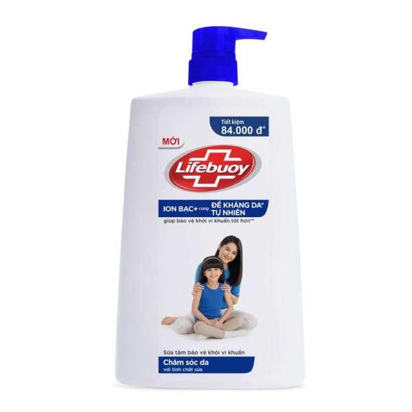 Sữa tắm sạch khuẩn Lifebuoy Chăm Sóc Da (Xanh) Chai 1.1KG giá rẻ