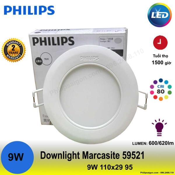 Đèn âm trần Downlight Led 59521 Marcasite 9W 3000/4000/6500 ( vàng hoặc trung tính hoặc trắng)
