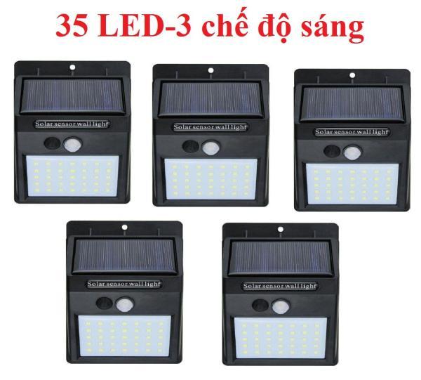 Bộ 5 Đèn led năng lượng mặt trời Solar 35 LED siêu sáng 3 chế độ sáng (Đen)