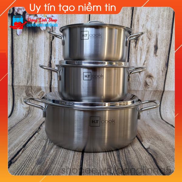 Bộ 3 nồi inox 430 cao cấp HT Cook - Kích thước 16cm - 18cm - 24cm