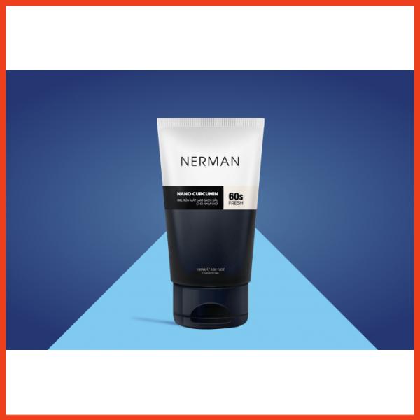Gel rửa mặt ngăn ngừa mụn Nerman Nano Curcumin 60s Fresh cao cấp