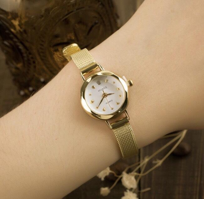 đồng hồ dây kim loại nữ yahao MT04, dây thép lụa ôm tay, mặt tròn size mini mặt tròn cực xinh ( tặng kèm 1 viên pin ) Nhật Bản