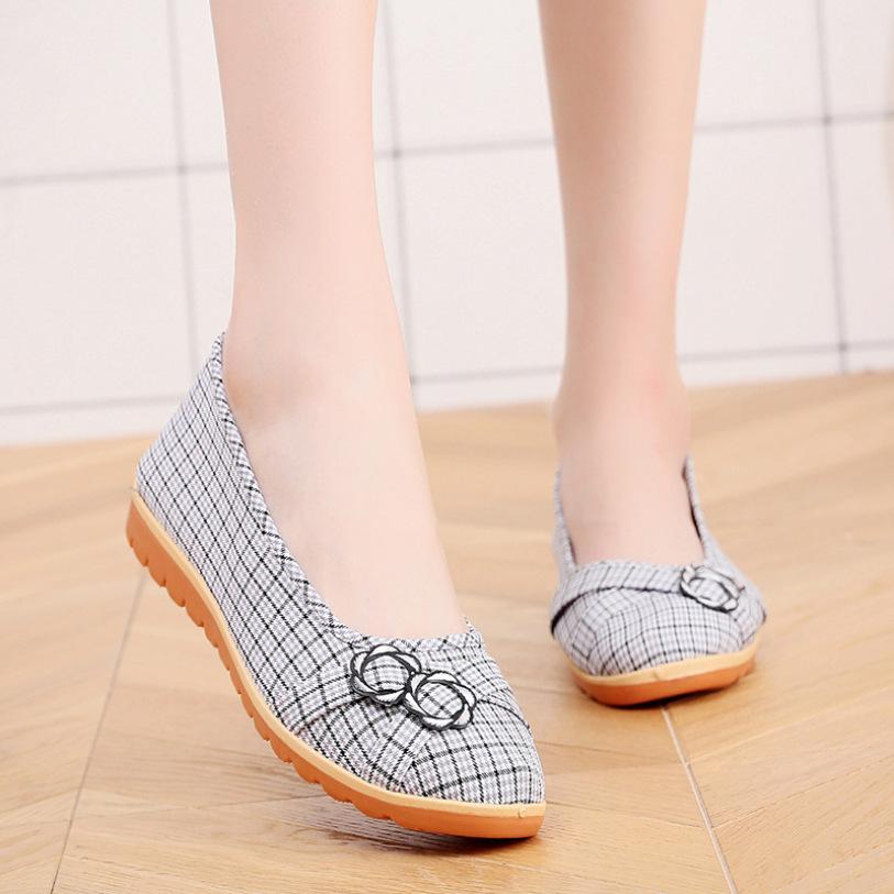 Giày búp bê vải caro cao 2cm đi bộ cực êm chân V220 giá rẻ