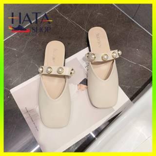 Sục nữ đẹp mũi vuông đính ngọc trai cao cấp cực xinh SIÊU HOT 2021, giày sục nữ đẹp đế bằng mang êm chân thumbnail