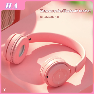 Tai nghe Bluetooth không dây màu Macaron cho sinh viên chơi điện tử HA thumbnail