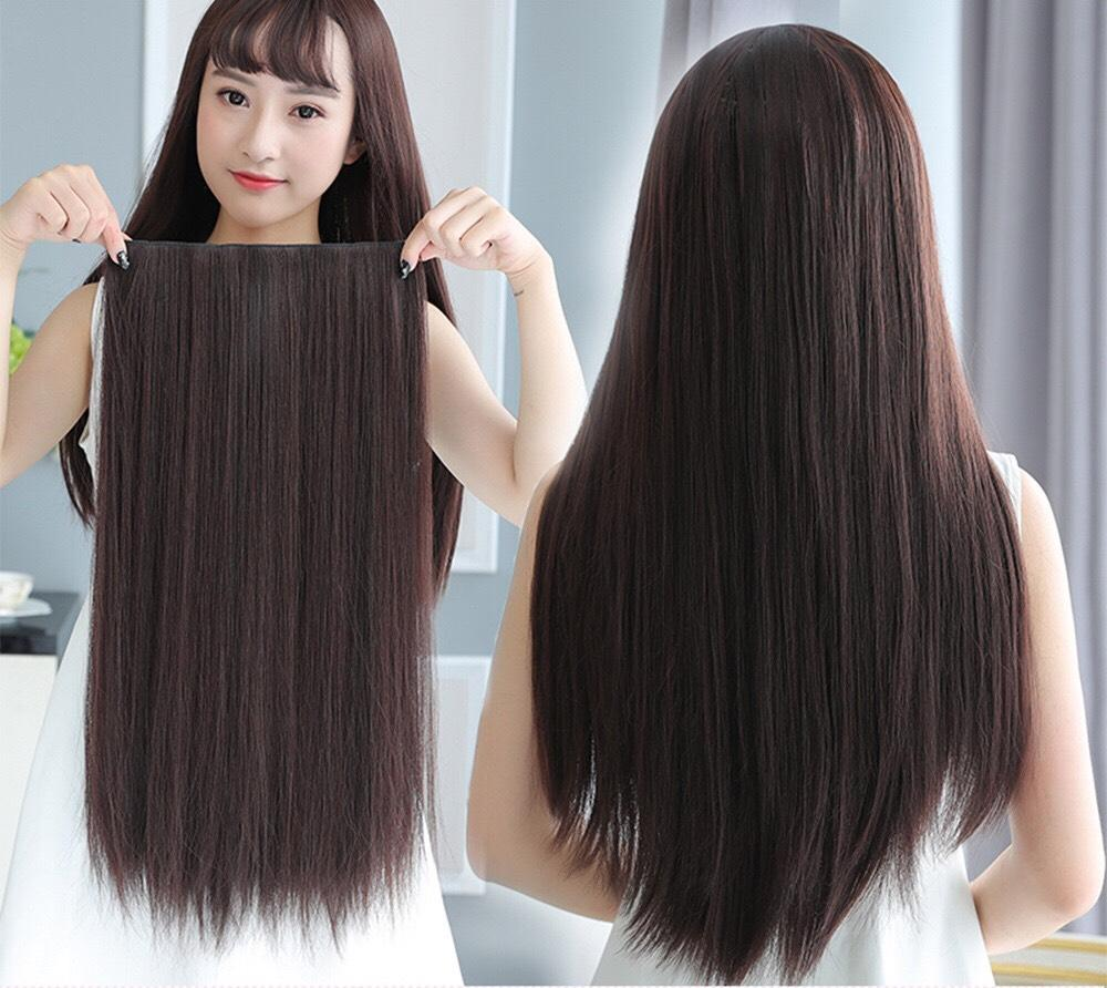 Tóc giả nửa đầu màu đen thẳng dài 60cm JFP05